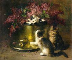"""Trois chatons jouant autour d'un bouquet de lilas"" Léon Hubert (1858-1928) [""Three kittens playing around a bouquet of lilac""]"