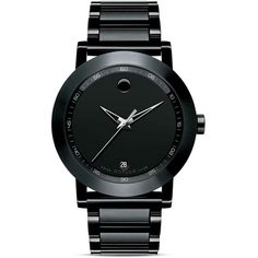 Movado Museum Sport Stainless Steel Watch, 42mm ($1,295) ❤ liked on Polyvore featuring men's fashion, men's jewelry, men's watches, watches, jewelry, accessories, bracelets, men and black
