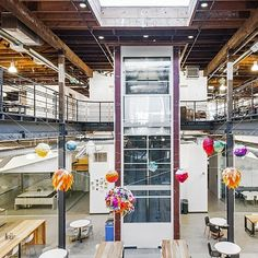 Pinterest, San Francisco  To fit with the mission of the online curation site, Pinterest wanted a headquarters that its employees could help personalize. A bicoastal team—composed of New York's All of the Above, Los Angeles's First Office, and local firm Schwartz and Architecture—created the industrial, yet modern facility - Architectural Digest