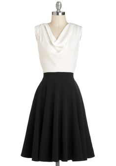 White Top and Black Skirt-- Breakfast Epiphanies Dress, #ModCloth-- In this classic A-line dress, even sitting at a cafe becomes a moment worth illuminating. Before you head to your friend's fancy luncheon, don this graceful twofer and nibble a warm pastry. Sipping your coffee, you make notes in your hand-bound journal. Adorned in your favorite pearl necklace and delicate stud earrings, you tuck your notes into your handbag and head out, your black pumps carrying your charming ensemble.
