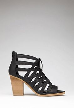 Caged Faux Leather Sandals | Forever 21 - 2000053571