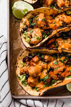 roasted sweet potato + cauliflower tacos {vegan, dairy-free} - plays well with butter Healthy Taco Recipes, Healthy Tacos, Potato Recipes, Vegetarian Recipes, Spinach Recipes, Pork Recipes, Healthy Food, Recipies, Vegetarian Taco Filling