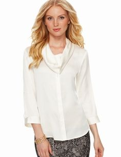 The Limited - Cowlneck Blouse in Classic Off White  #TheLimitedShirtEvent