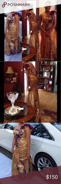 Stunning Gold & Purple Sequin Gown with Train Sz 8 Thus gown is absolutely stunning! Gold and purple sequin floor length gown has trailing train with single floral strap. Worn once.😍 Dresses Maxi
