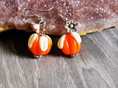 Jewelry Earrings Orange Dangle Earrings by GlassHouseLampwork, $20.00
