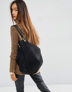 Image 3 ofASOS Croc Embossed Suede Shopper With 4 Ring Detail