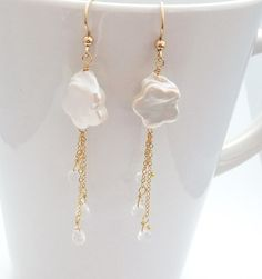 Cloud & raindrop earrings rain freshwater pearl by SimplyAdorned4U, $36.00