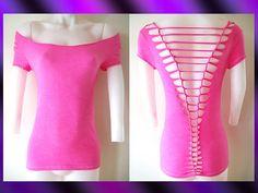 Womens / Juniors Blank Hot Pink Top Cut Shirt Series Off Shoulder Size Small, Medium, Large, XL, 2XL, 3XL Shredded T