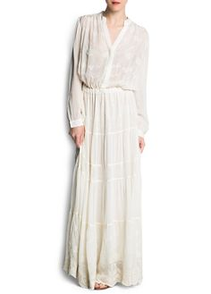MANGO - Chiffon embroidered long dress