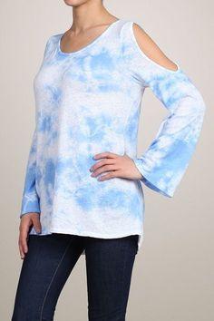 Beautiful blue boho chic cloud dye cold shoulder bell sleeve top by Chatoyant #Chatoyant #Coldshoulderbellsleevetunictop #Springbreak2015 #surferblue #bohochic