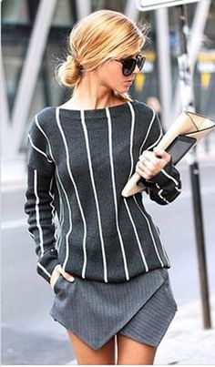 Grey Striped Long Sleeve Fashion Cotton Blend Pullover Sweater