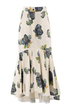 Floral-Print Slik-Blend Midi Skirt by Lake StudioGet inspired and discover Lake Studio trunkshow! Shop the latest Lake Studio collection at Moda Operandi. Lake Studio's midi skirt is cut from an airy silk and linen-blend that's mermaid patterned with Midi Flare Skirt, Pleated Midi Skirt, Dress Skirt, Diy Maxi Skirt, Modest Fashion, Hijab Fashion, Fashion Dresses, 70s Fashion, Fashion Styles