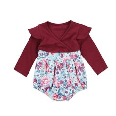 My adorable patchwork floral romper - Material  Cotton - Gender  Baby Girls  - e5a52836862
