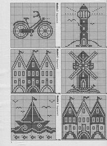 Filet Crochet, Crochet Motifs, Crochet Afghans, Crochet Chart, Crochet Patterns, Crochet Cross, Cross Stitch House, Cross Stitch Cards, Cross Stitch Borders