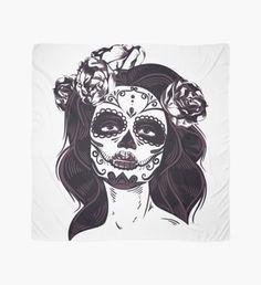 Sven Herkenrath Skull - Female Skull with Flowers in Hair Gothic Day of the Dead - Potholder Scarf Design, Flowers In Hair, Sell Your Art, Womens Scarves, Pot Holders, Skull, Fan Art, Seasons, Artist