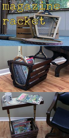 tennis rackets and an old crate re-purposed into a stylish magazine rack(et)- great idea for Karen