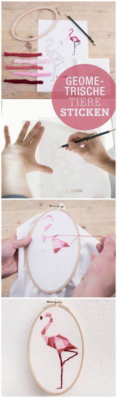 Kostenlose Anleitung: Geometrische Tiere im Stickrahmen, Weihnachten für Selbermacher / free diy tutorial: create embroidery animals, geometric via DaWanda.com