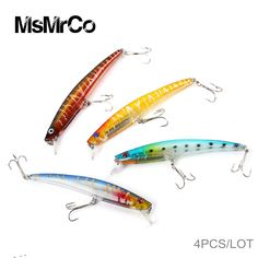 MsMrCo 4Pcs 11.5cm 11.2g Underwater Fishing Lures High Quality Hooks Fish Wobblers Hard Baits Bionic Camouflage Bait Accessories