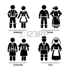 Europe - Germany Russia Scotland Italy Man Woman People National Traditional Costume Dress Clothing Icon Symbol Sign Pictogram photo