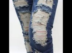 DIY HOW TO RIP JEANS AND LEAVE THE WHITE THREAD - YouTube