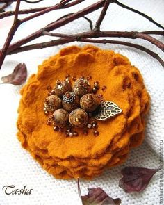 """""""Honey-colored"""" brooch made of natural stones and felt amazingly beautiful color in this brooch - burnt orange, rich honey, with bitterness. The brooch is made by the author of the technology of the Spanish wool blend felt. This is not felted brooch. Six layers of the lightest wool flower petals brooch with a core of natural landscape jasper beads. The volume of glass beads decoration emphasizes the color of bronze and white gold.★"""