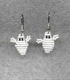 Halloween Beaded Ghost Earrings. $10.00, via Etsy.