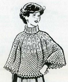 1960s Knitting PATTERN 7161 Knitted Poncho sizes by BlondiesSpot, $3.99