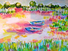 Kayaking+in+the+Marsh+14+x+17+Original+Acrylic+by+EvelynHenson,+$145.00