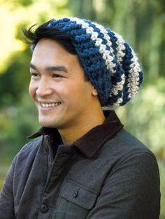 Chapeau souple à rayures crocheté