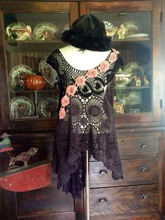 Luv Lucy Crochet Top Lucys Black Swan can fit by TheVintageRaven, $165.00