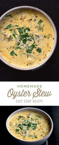 Oyster Stew Recipe Grab a spoon and some oyster crackers and get ready to enjoy . Easy Soup Recipes, Fish Recipes, Seafood Recipes, Cooking Recipes, Cooking Time, Seafood Soup, Seafood Dishes, Fish Dishes, Canned Oysters