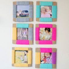 These photo frames are made from cardboard and wrapped in yarn. So easy to make.
