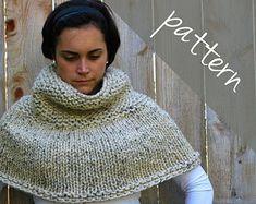 Knitting PATTERN Poncho Cape Chunky Cape by AshleyLillisHandmade