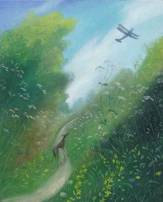 NICHOLAS HELY HUTCHINSON  Watching the Take Off, Compton Abbas Oil on board 12 x 10 ins
