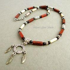 Mens Necklace - Red Jasper Black Onyx Bone with Native American Charm | Mamis_Gem_Studio - Jewelry on ArtFire