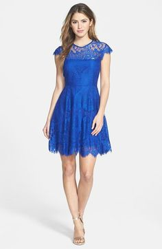 Free shipping and returns on BB Dakota 'Rhianna' Illusion Yoke Lace Fit & Flare Dress at Nordstrom.com. Beautiful, delicate lace is shaped into a lovely fit-and-flare dress detailed with a sheer yoke, dainty cap sleeves and a striking back cutout.