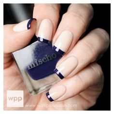 All girls like beautiful nails. The first thing we notice is nails. Therefore, we need to take good care of the reasons for nails. We always remember the person with the incredible nails. Instead, we don't care about the worst nails. Nail Art Violet, Purple Nail Art, French Tip Nail Designs, Nail Art Designs, Nails Design, French Nails, Nails Factory, Blue French Tips, Navy Blue Nails