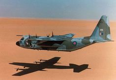 RAF C-130 Hercules low over the desert