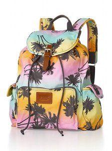 Victorias Secret Pink Hawaii Neon Tropical Island Palm Tree Pink Backpack 2013