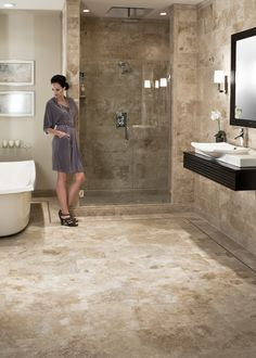 Travertine bathroom perhaps overall the most middle of the road for house resale master bath Travertine Bathroom, Bathroom Floor Tiles, Bathroom Renos, Tuscan Bathroom, Beige Bathroom, Basement Bathroom, Wall Tile, Bad Inspiration, Bathroom Inspiration