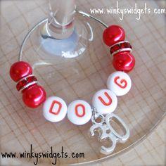 #30th #birthday #wine #glass #charm from Winky's Widgets