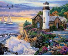 Bits And Pieces - 300 Large Piece Jigsaw Puzzle For Adults - Perfect Dawn, Sunrise By The Ocean - By Artist Laura Glen Lawson - 300 Pc Jigsaw Kinkade Paintings, Art Quilling, Image Nature, Nature Nature, Mother Nature, Lighthouse Painting, Lighthouse Pictures, Cottage Art, Thomas Kinkade