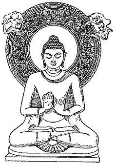 line art budda | Buddhist Line Art: Sarnath Buddha Image