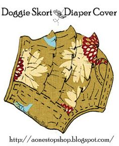 Free PDF pattern to sew your own stylishDoggie Skort & Diaper Cover. Great for dogs who are in heat or incontinent.