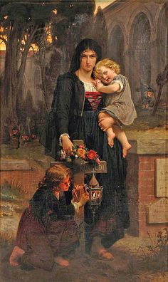 Mother With Children On Their Fathers Grave, undated - Pierre August Cot(1837-1883)