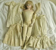 Antique Vintage 1800's French Fashion Bisque Doll Terrene Body 17"