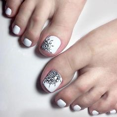 Looking for new and creative toe nail designs? Let your pedi always look perfect. We have a collection of wonderful designs for your toe nails that will be appropriate for any occasion. Be ready to explore the beauty and endless creativity of nail art! Pretty Toe Nails, Cute Toe Nails, Pretty Toes, Pedicure Designs, Pedicure Nail Art, Toe Nail Designs, Nails Design, Tribal Toes, Edgy Nail Art