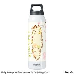 Fluffy Sleepy Cat Plum blossom 16 Oz Insulated SIGG Thermos Water Bottle
