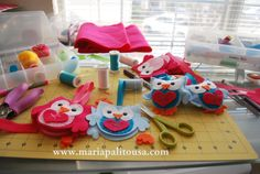 Sewing Valentine's day Owls today !! Busy and messy table this afternoon !!! Now I will have to clean after my mess. It is nice outside, It was raining and now it is sunny. I love the smell of the grass after the rain.