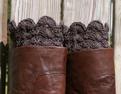 Crochet Boot Cuffs in Charcoal Grey Gray Boot Toppers Boot Socks. $30.00, via Etsy.